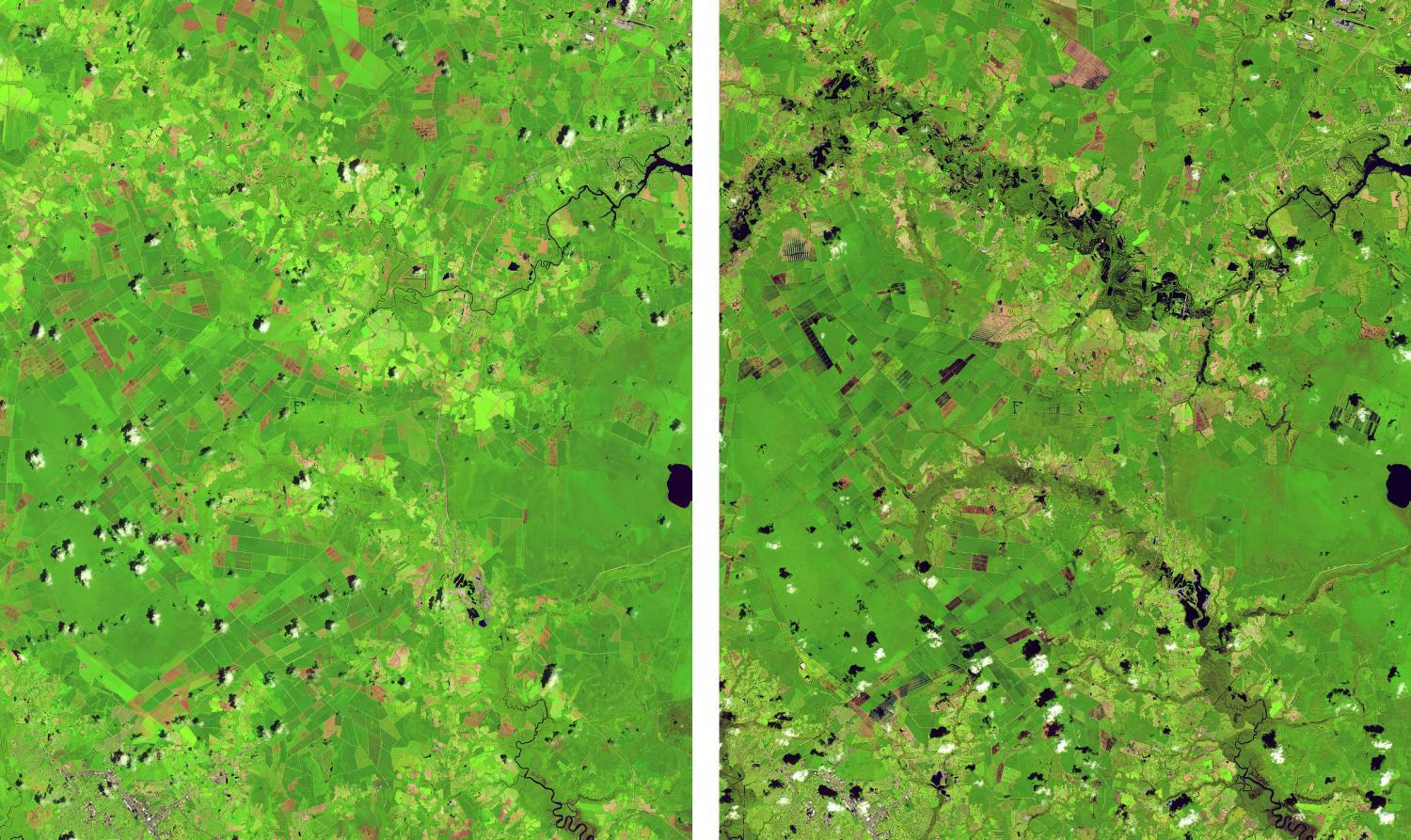 Satellite image of Trent River from July 2017 and September 2018 after flooding