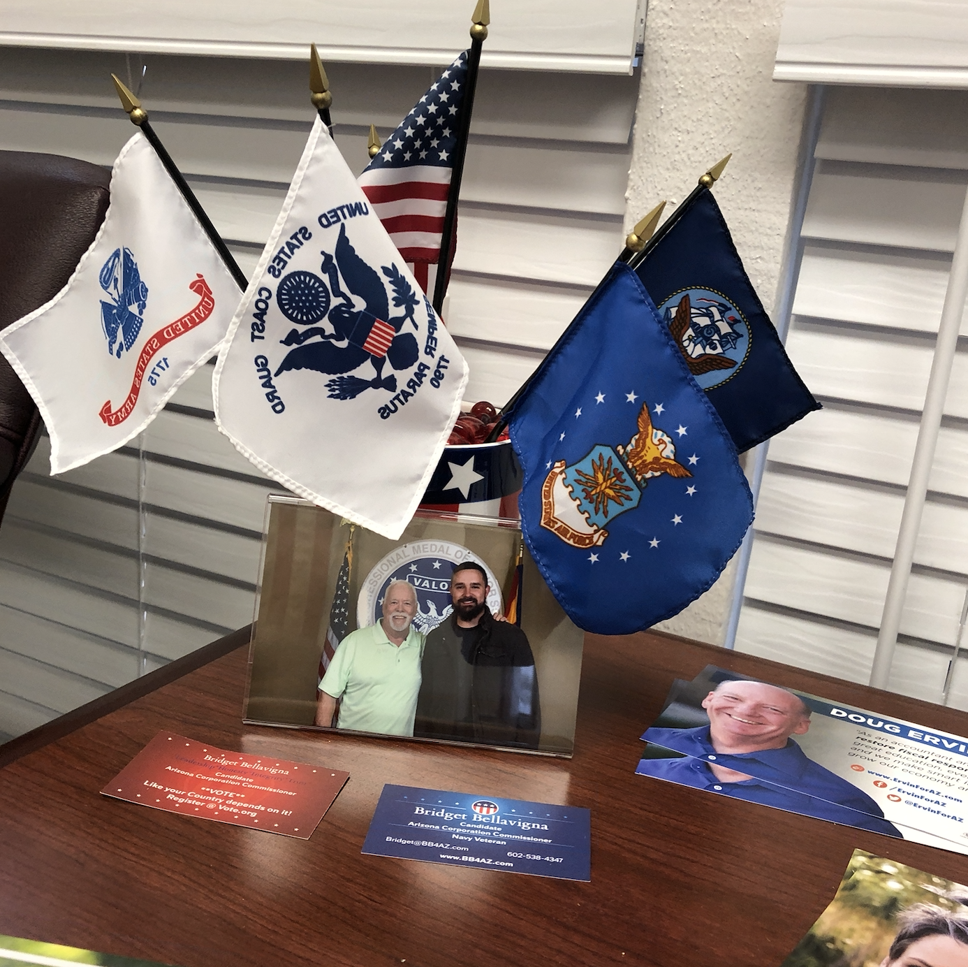 Military flags in the Vets Forward office