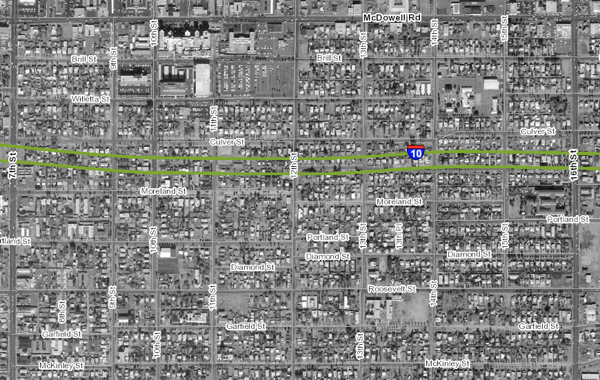 The Garfield Neighborhood in 1969, with the future route of I-10 superimposed.