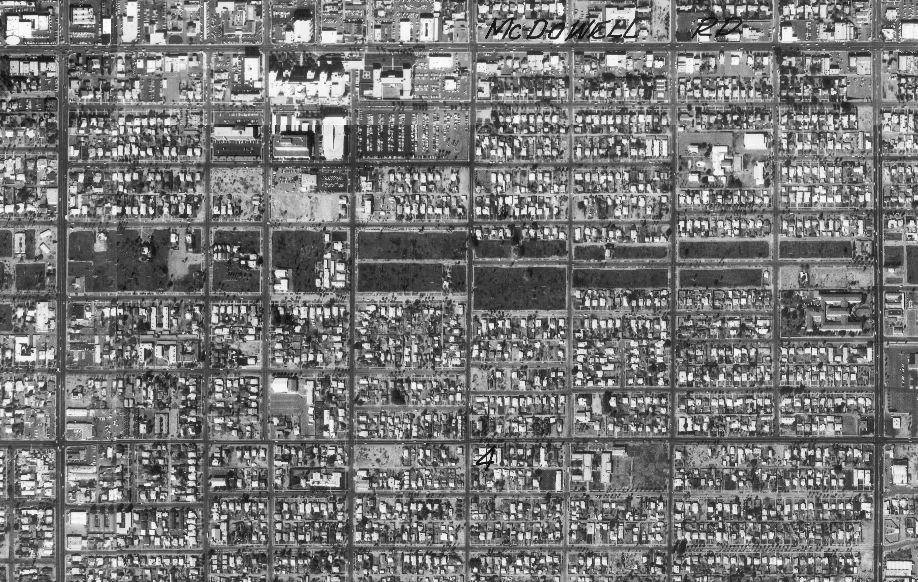 The Garfield Neighborhood in 1976, with the freeway route mostly cleared.