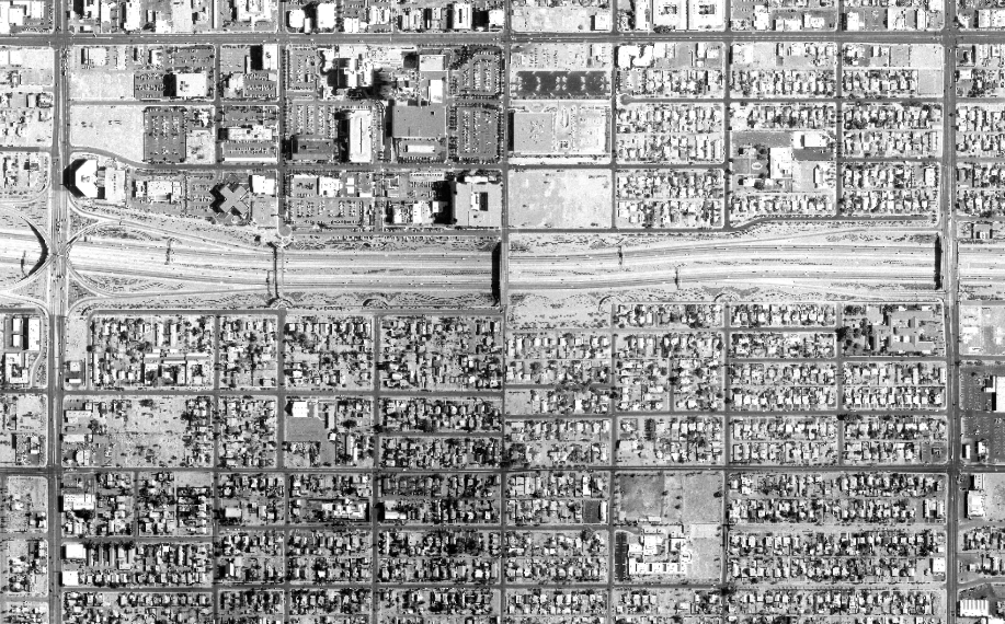 The Garfield Neighborhood in 1991, with the freeway completed.