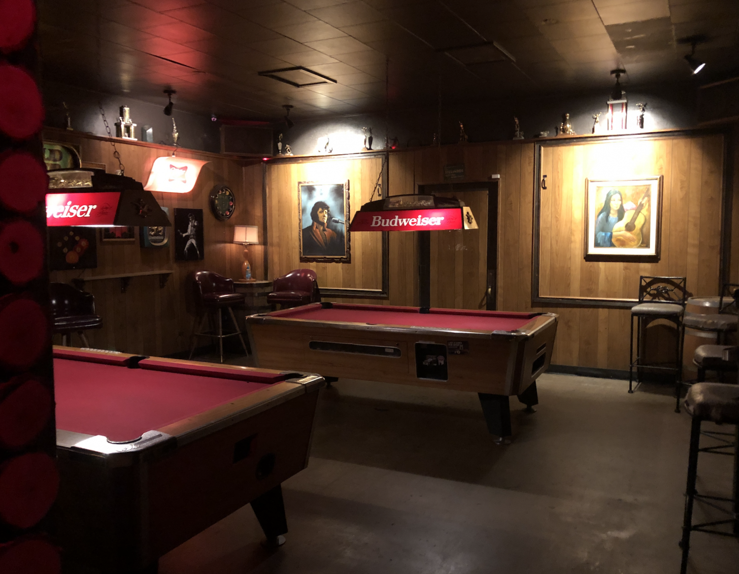 The empty billiard room at The Little Woody in Arcadia.