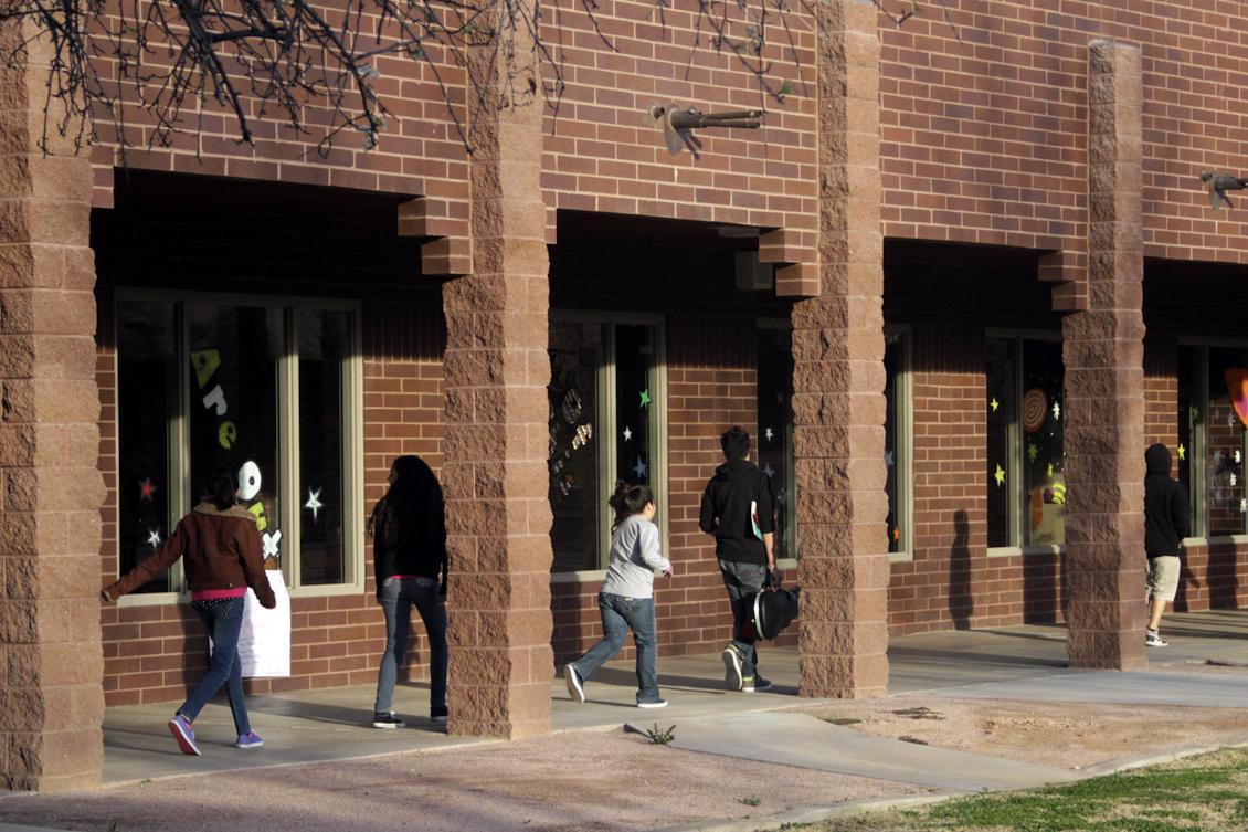 kids walk outside at Shumway Leadership Academy