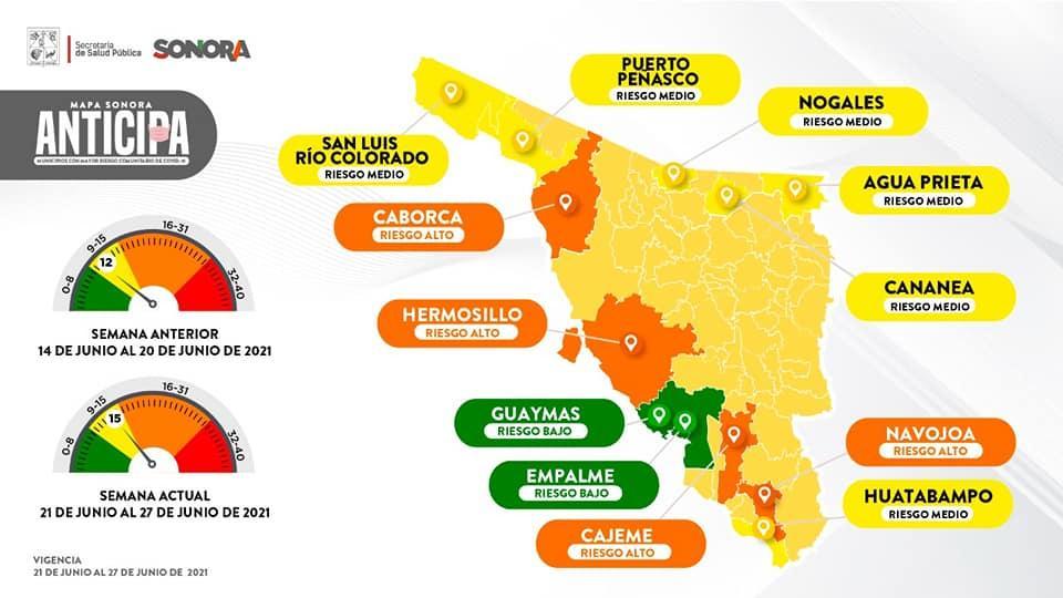 Sonora coronavirus risk level map