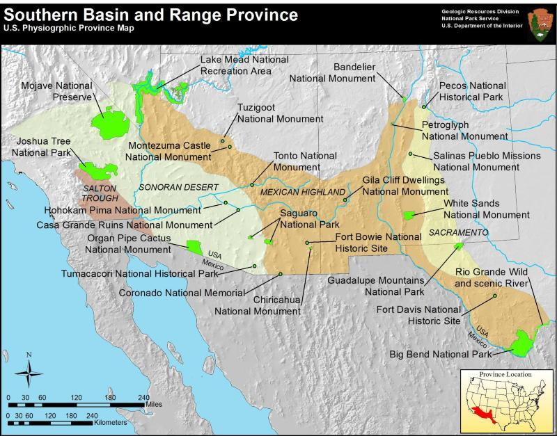 Southern Basin and Range map