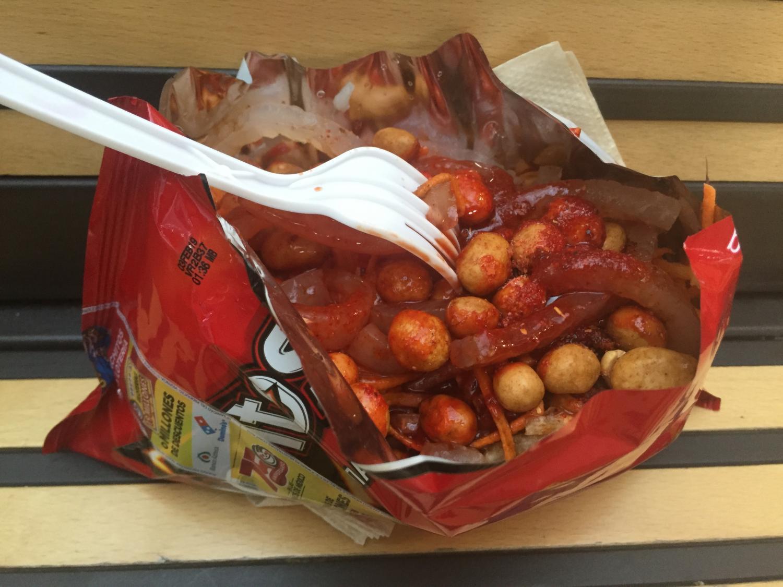 The typical presentation of Dorilocos found in Mexico City, using the bag of Doritos as a bowl..JPG