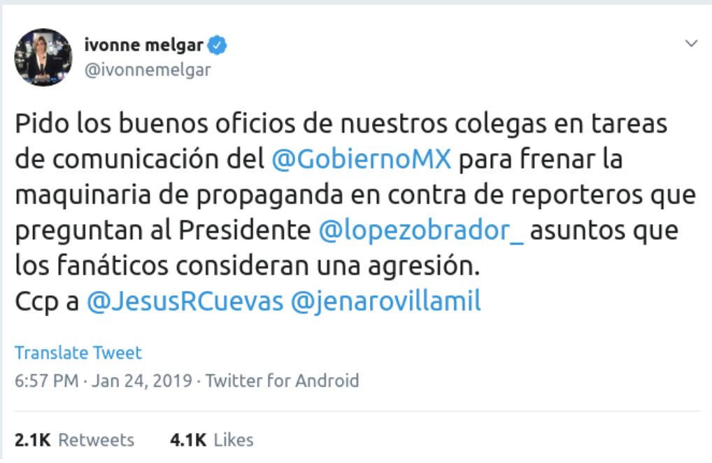 Ivonne Melgar tweet
