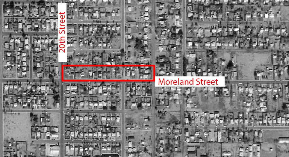 A 1969 aerial photo showing the area around 20th Street and Moreland Street, where Virginia Castellanos lived.