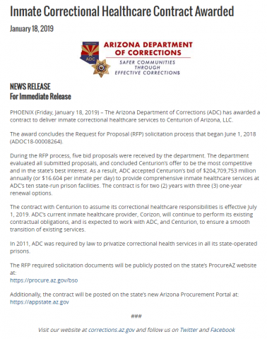 Arizona Department of Corrections press release