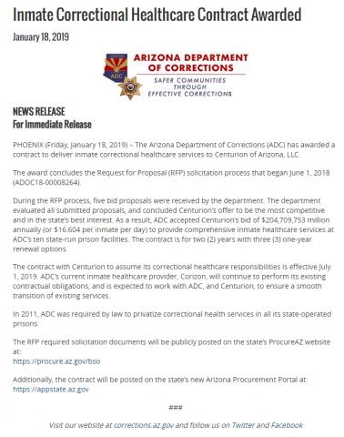 Arizona Department of Corrections press release