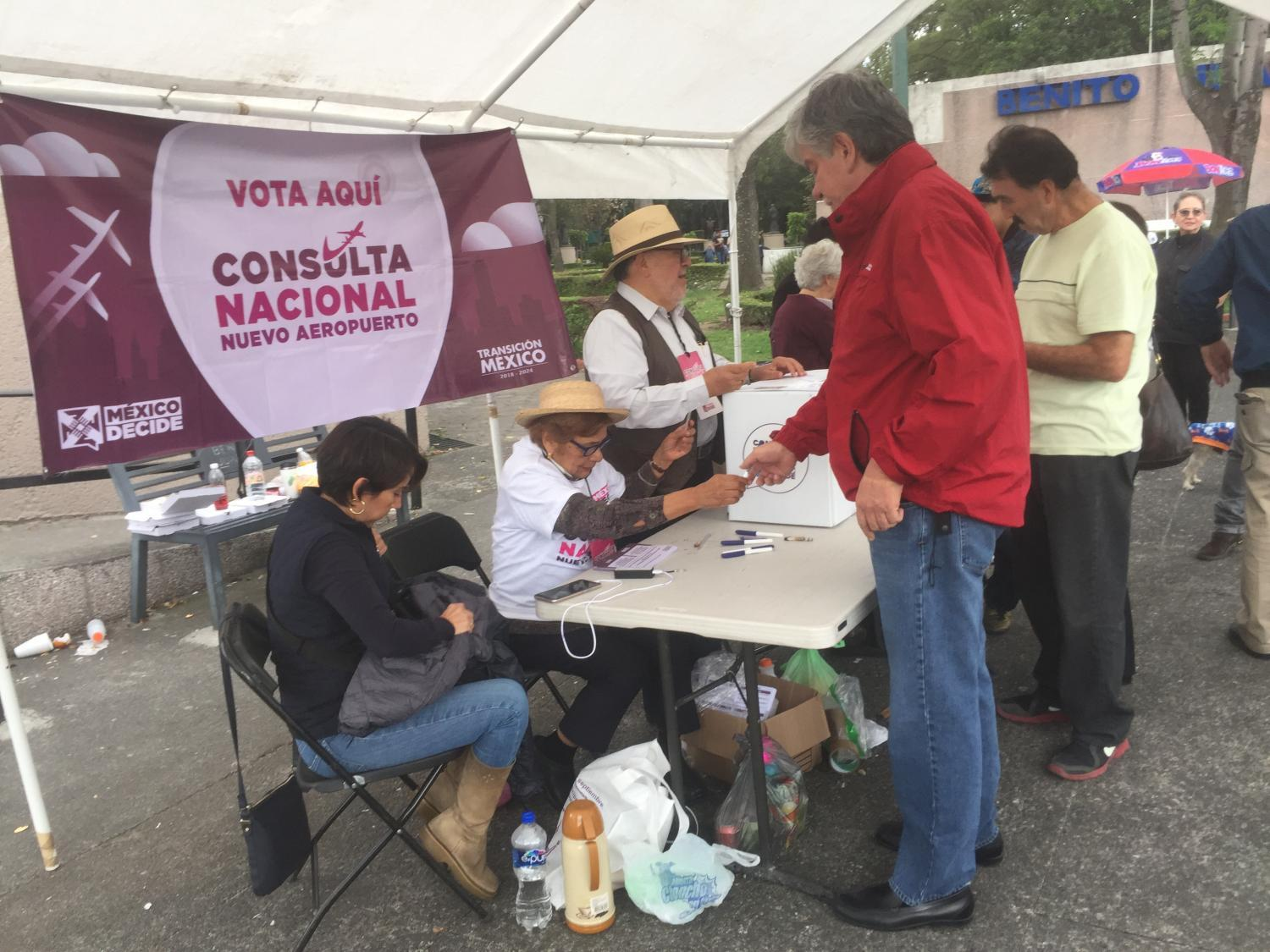 voting tent for the airport referendum in Mexico City