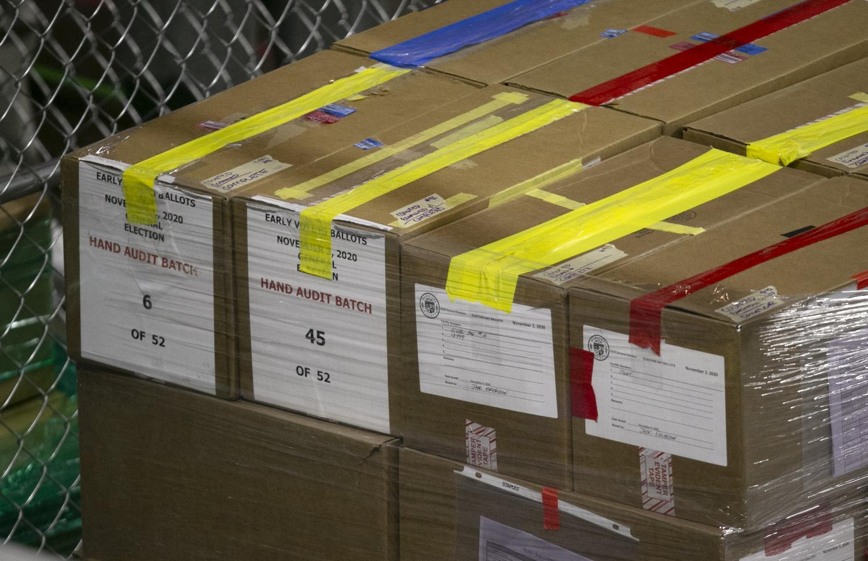 Boxes of Maricopa County ballots