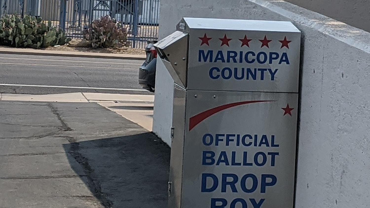 An official ballot drop box at Maricopa County Elections Department