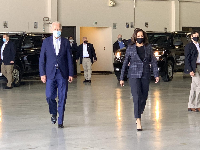 Joe Biden and Kamala Harris appear together at Sky Harbor Airport