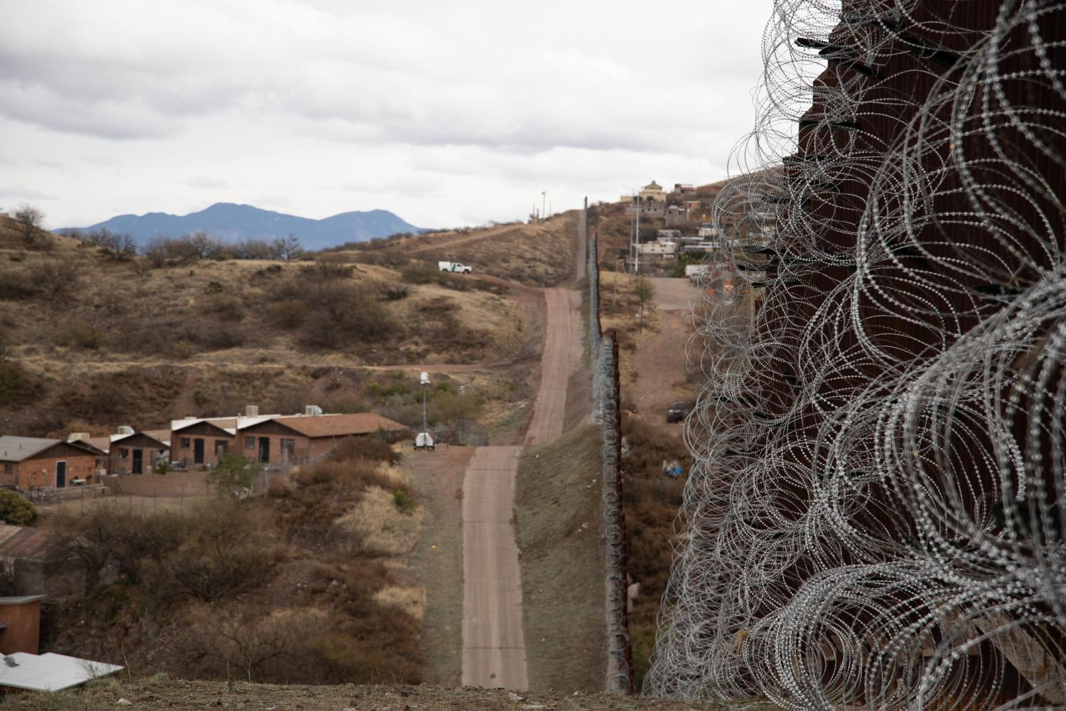 border wall with razor wire