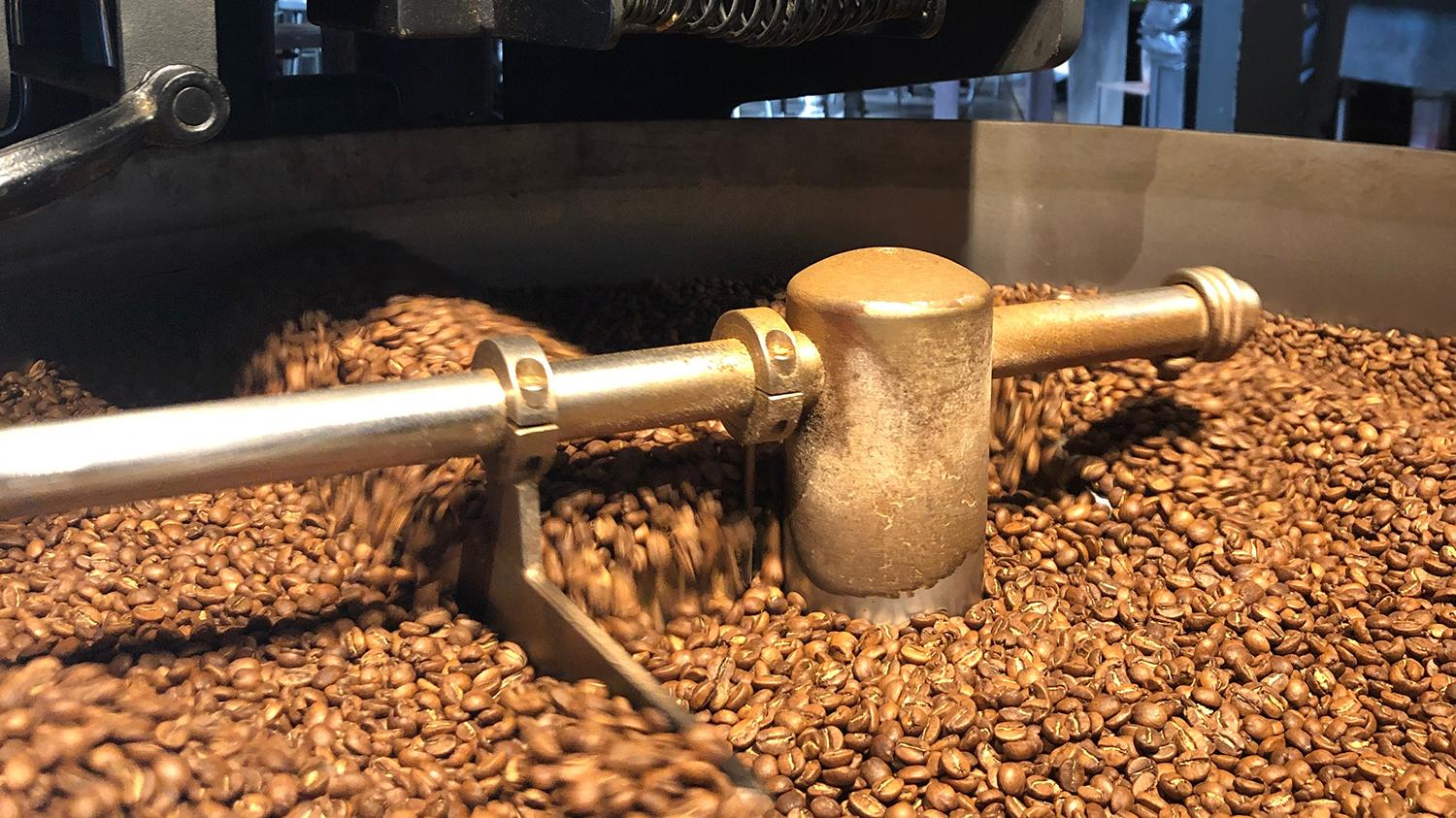 Beans being roasted at Cartel Coffee Lab