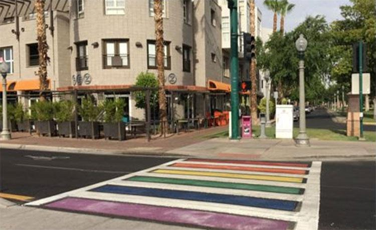 rainbow crosswalk at Central Avenue and Portland Street