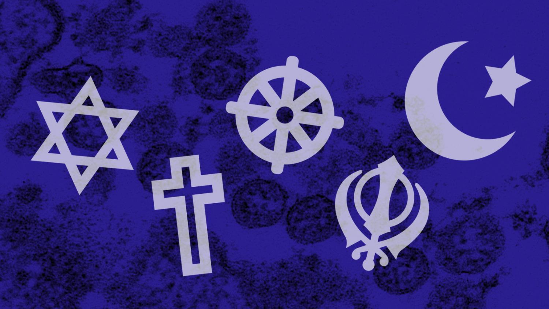 Religious symbols over image of coronavirus
