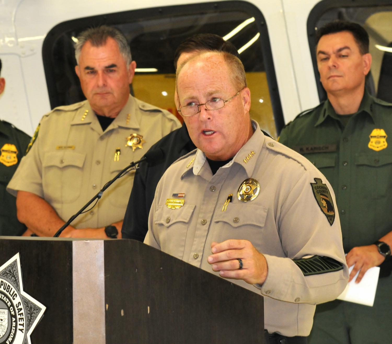 Sheriff Mark Dannels at border strike force press conference