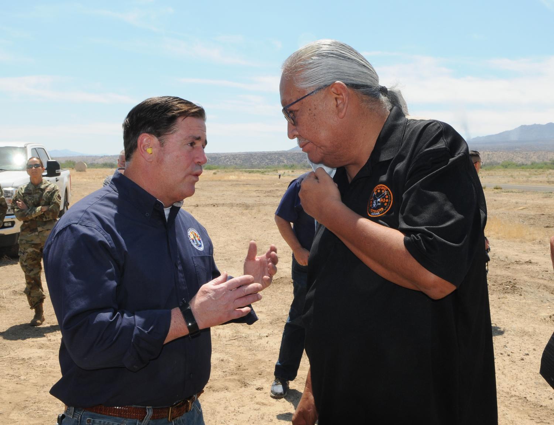Gov. Doug Ducey and San Carlos Apache Tribe chairman Perry Rambler