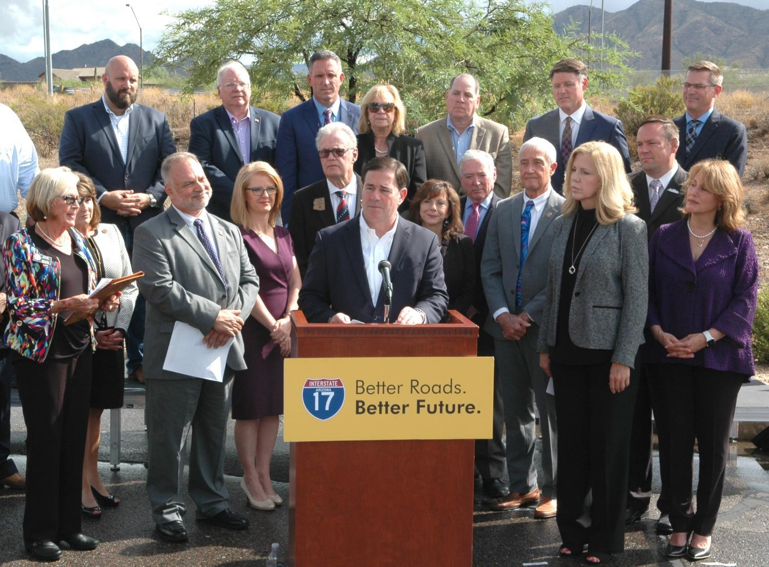 Gov. Doug Ducey and other officials tout the benefits of widening Interstate 17 north of Phoenix.
