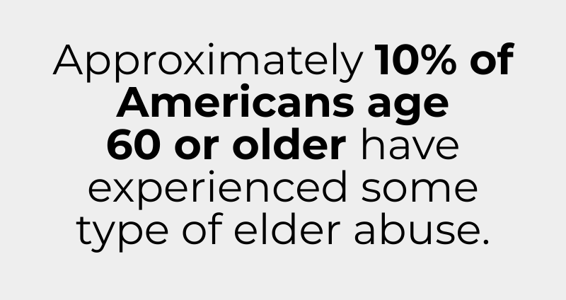 Approximately 10% of Americans age   60 or older have experienced some type of elder abuse.