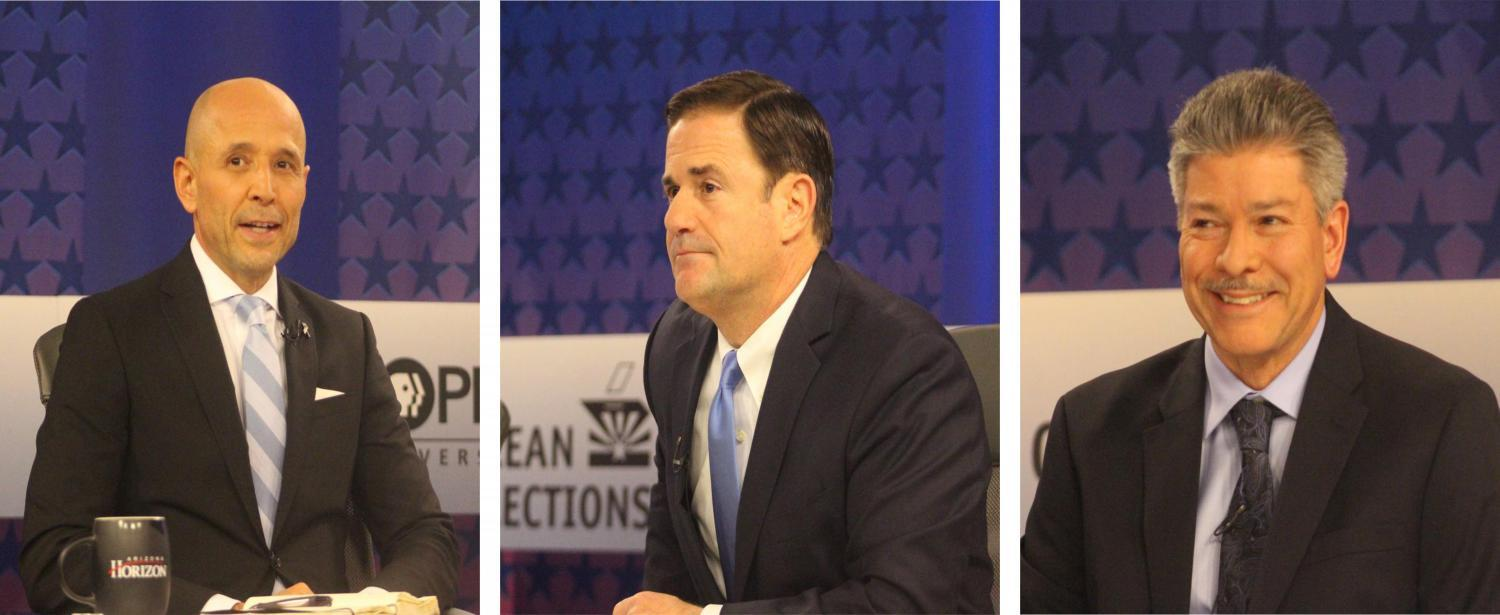 Democrat David Garcia (left), Gov. Doug Ducey (middle) and Green Party candidate Angel Torres (right).