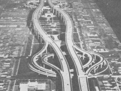 A rendering of what the Papago Freeway might have looked like, with helicoil interchanges and overpasses rising to 100 feet over downtown Phoenix.