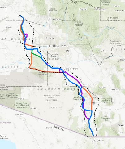 Proposed I-11 Routes