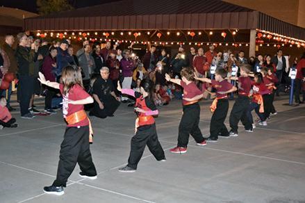 children practicing kung fu