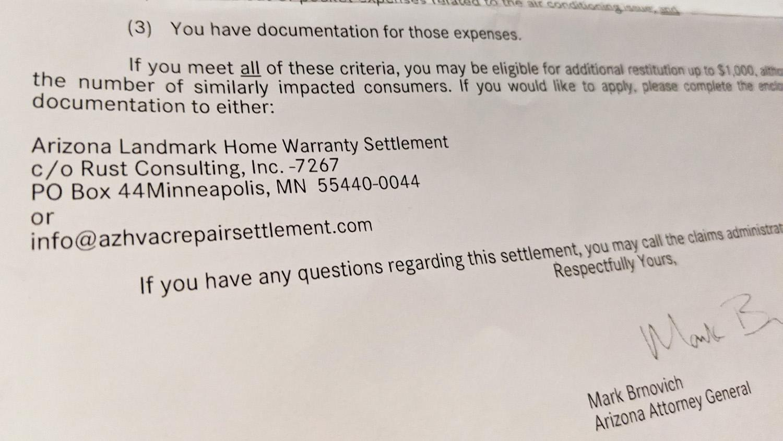 The letter sent to Landmark Home Warranty customers