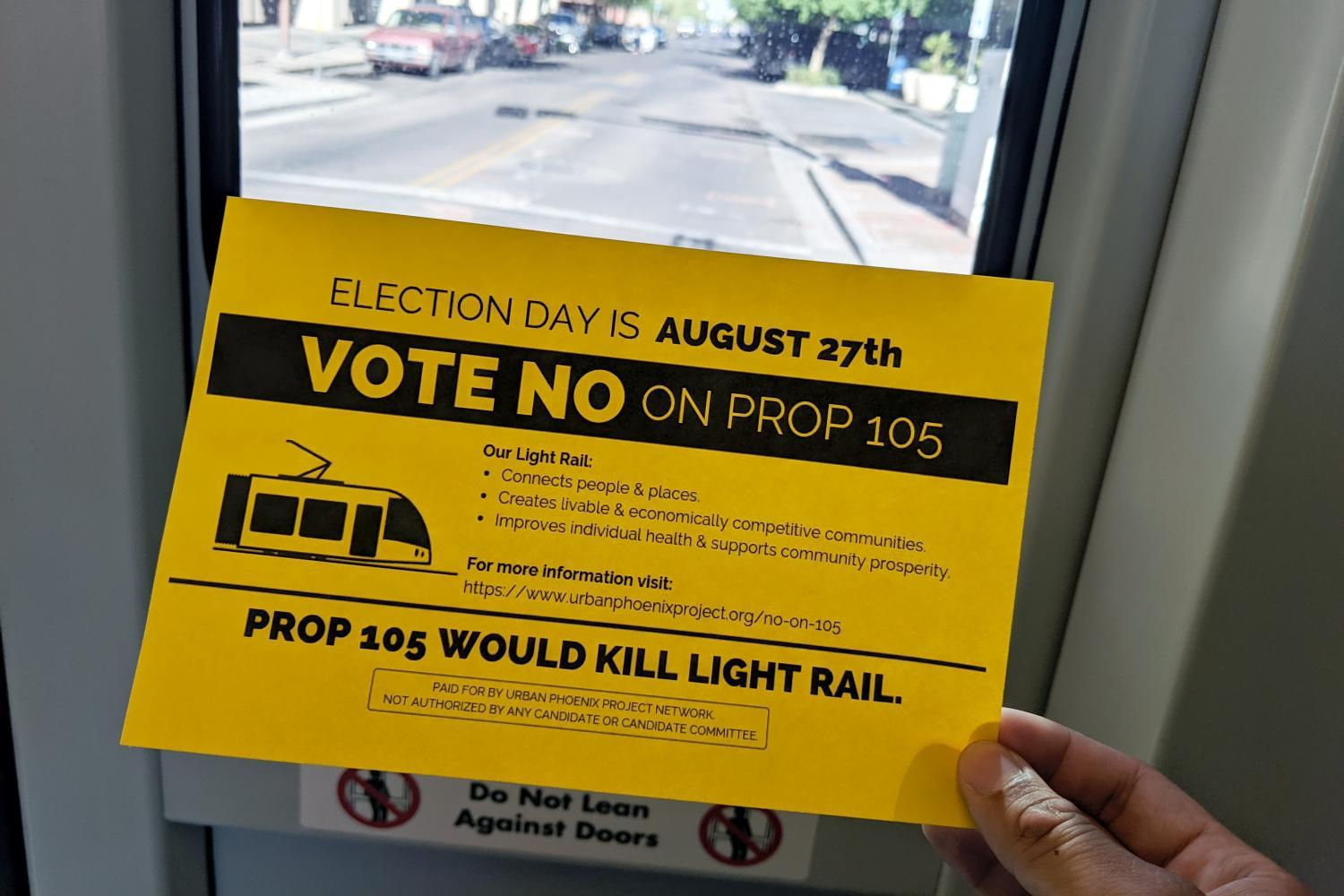 Light rail handout flyer against Prop 105