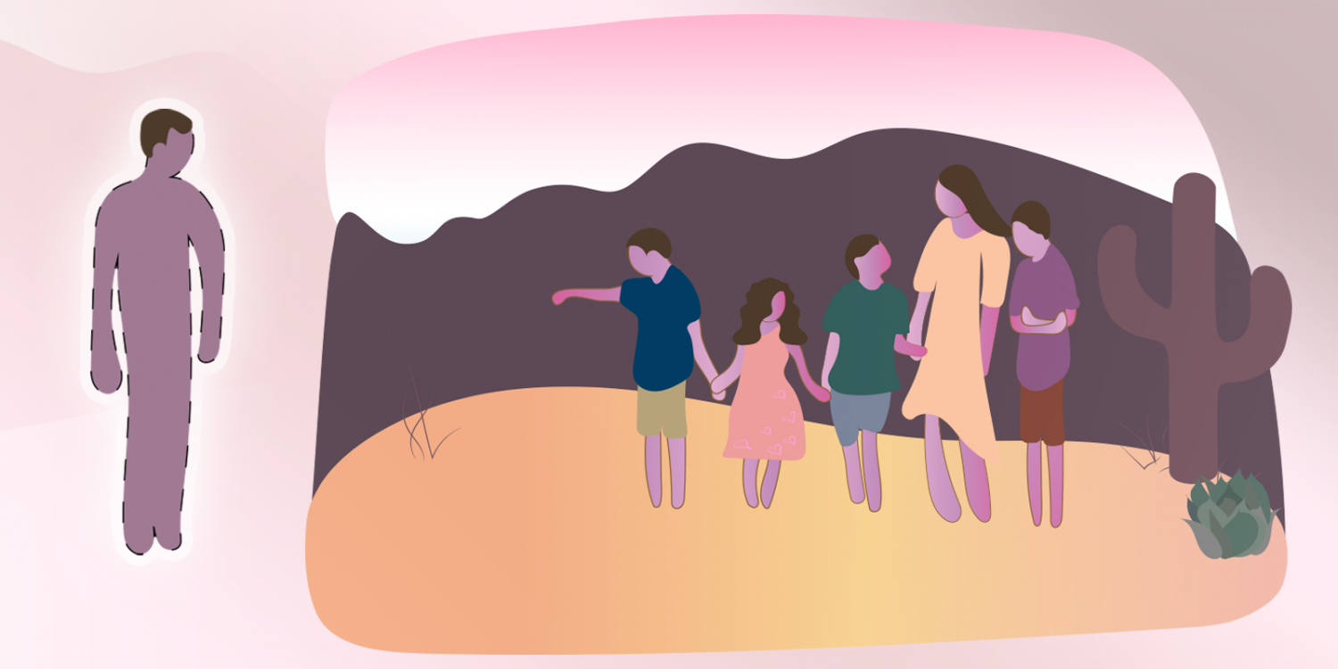 photo illustration of a family hiking