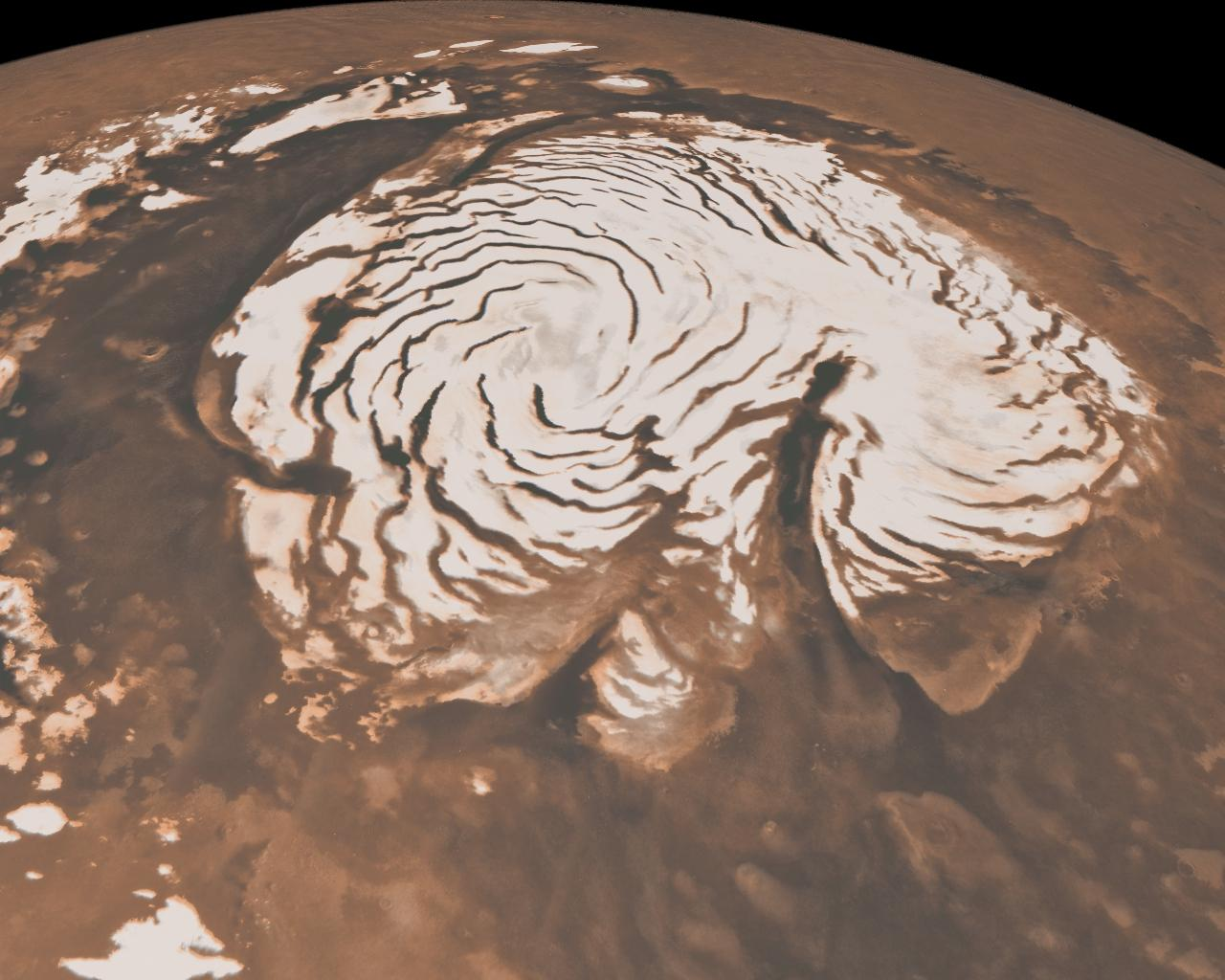 north polar region of Mars