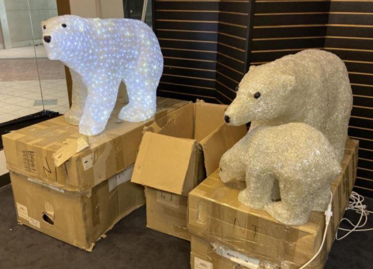 A light-up polar bear display
