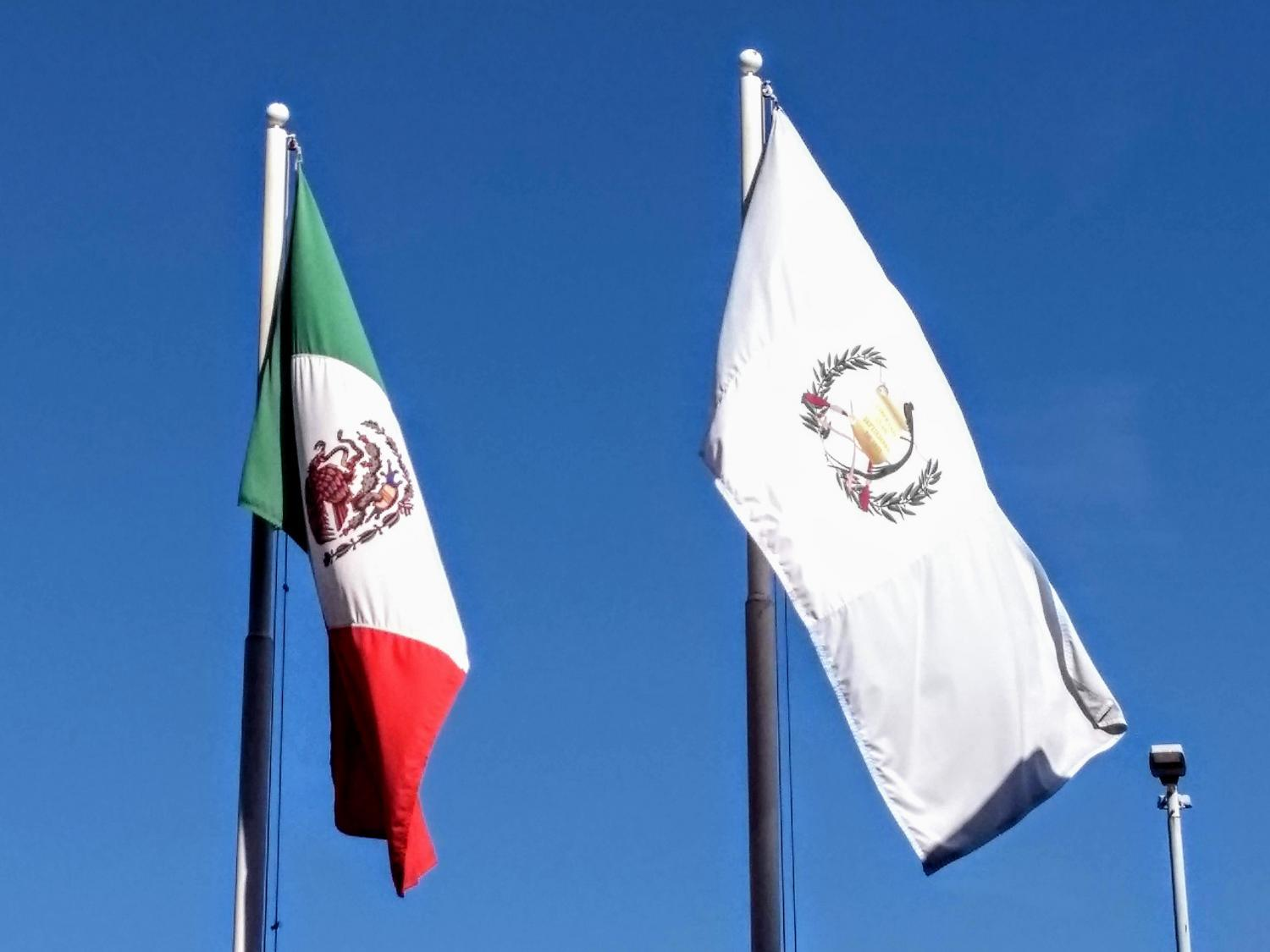 flags of Mexico and Guatemala