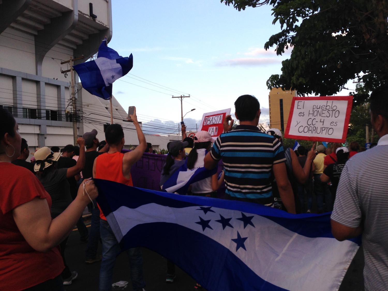 Protesters in San Pedro Sula, Honduras