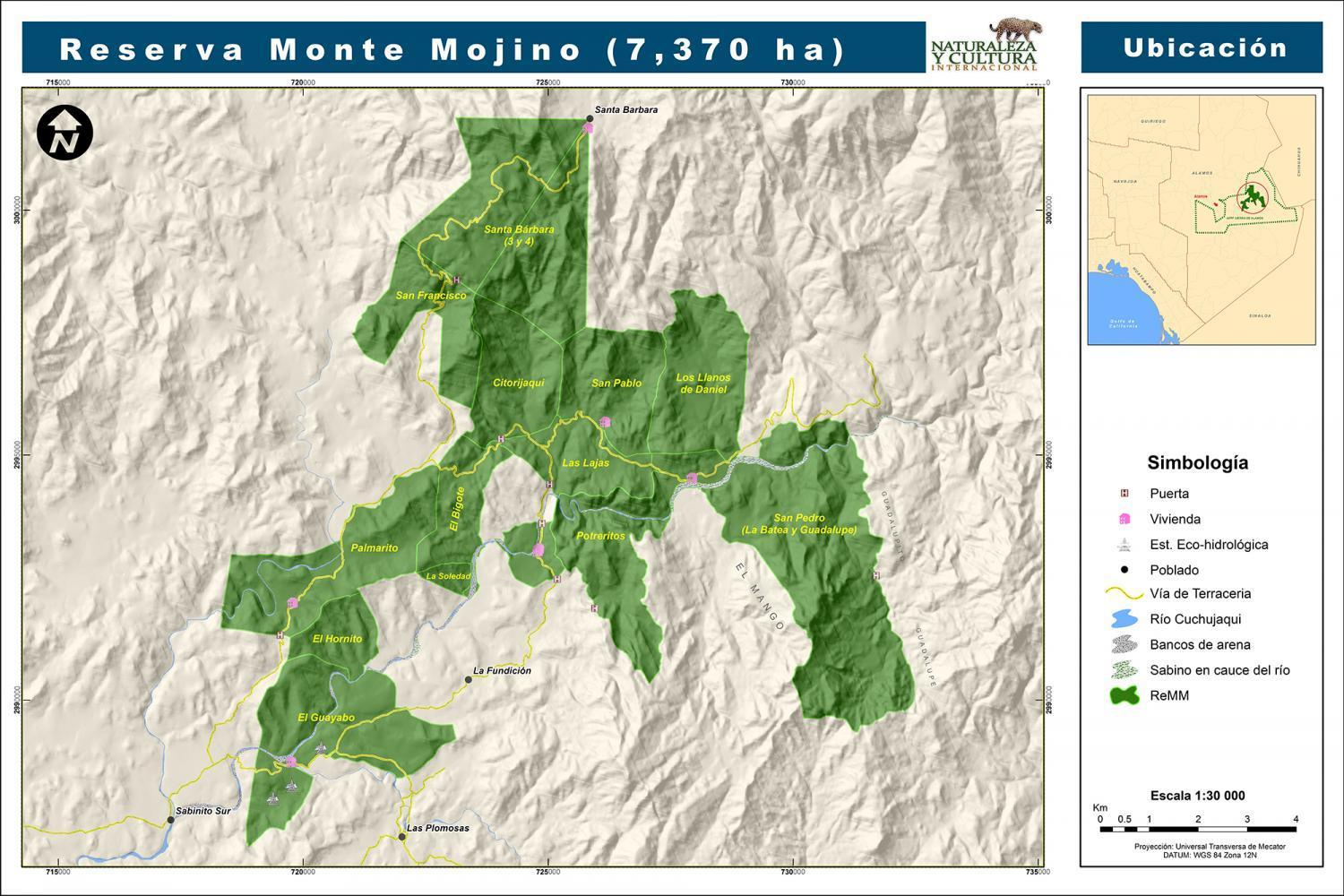 map of the Monte Mojino Reserve