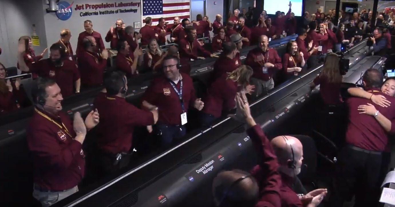 nasa celebration after insight lander reaches mars