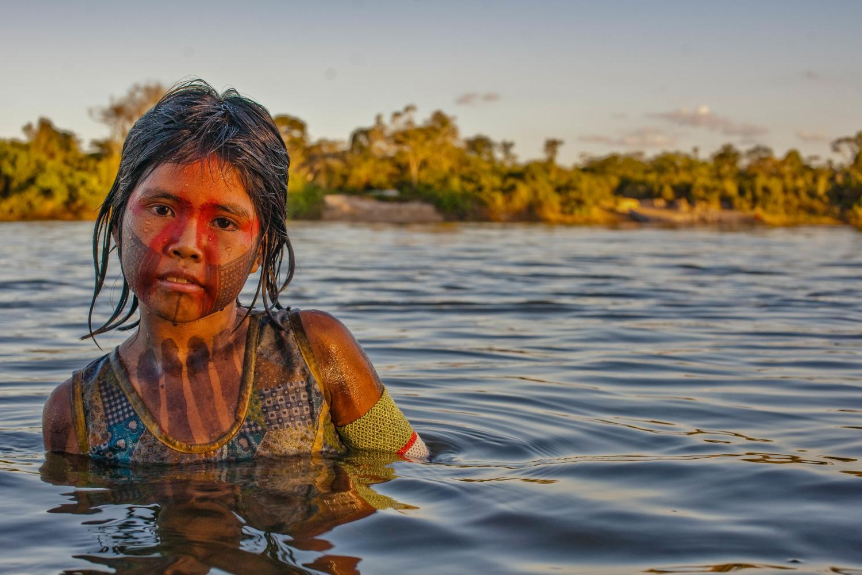 indigenous girl in water