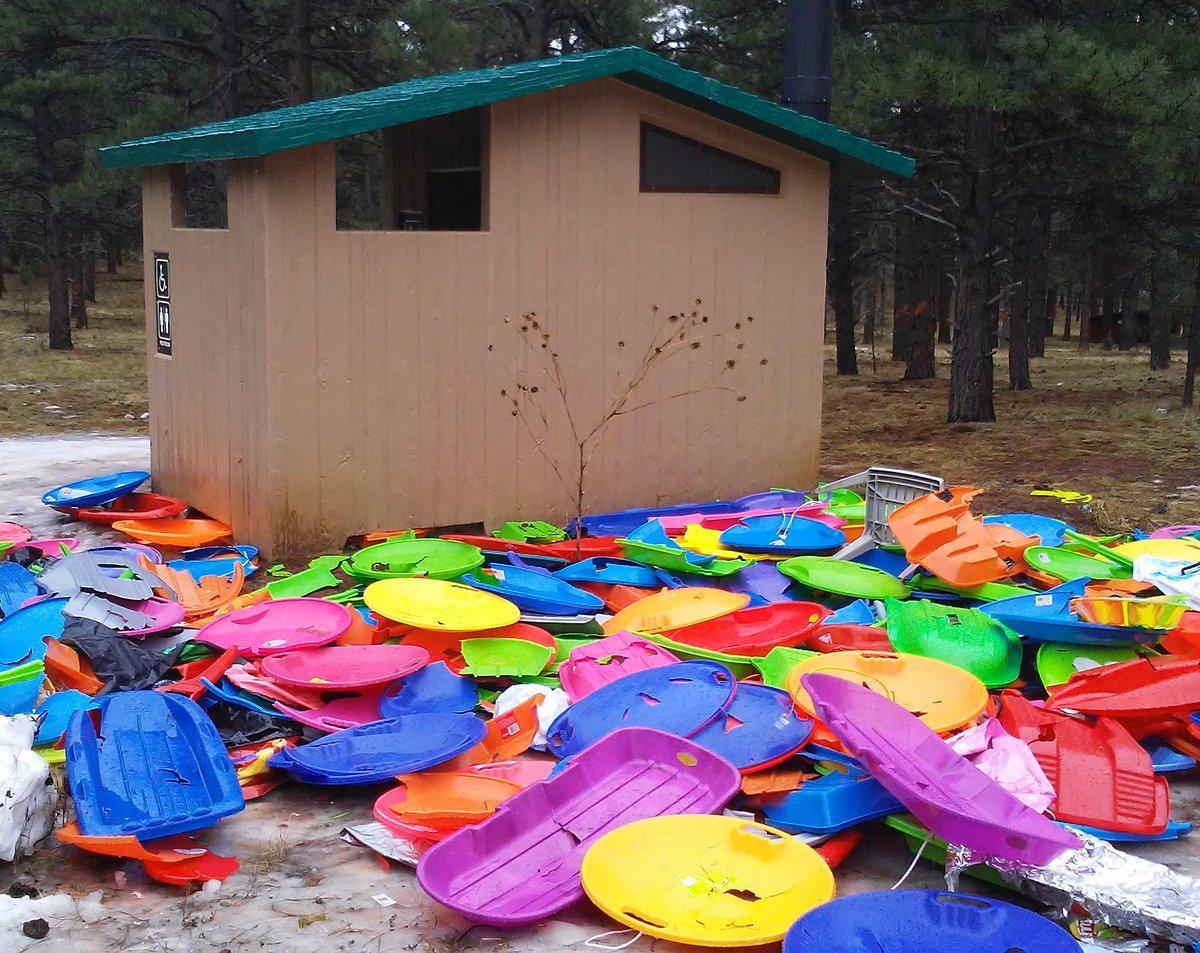 trash near Oak Hill Snow Play Area just outside Flagstaff