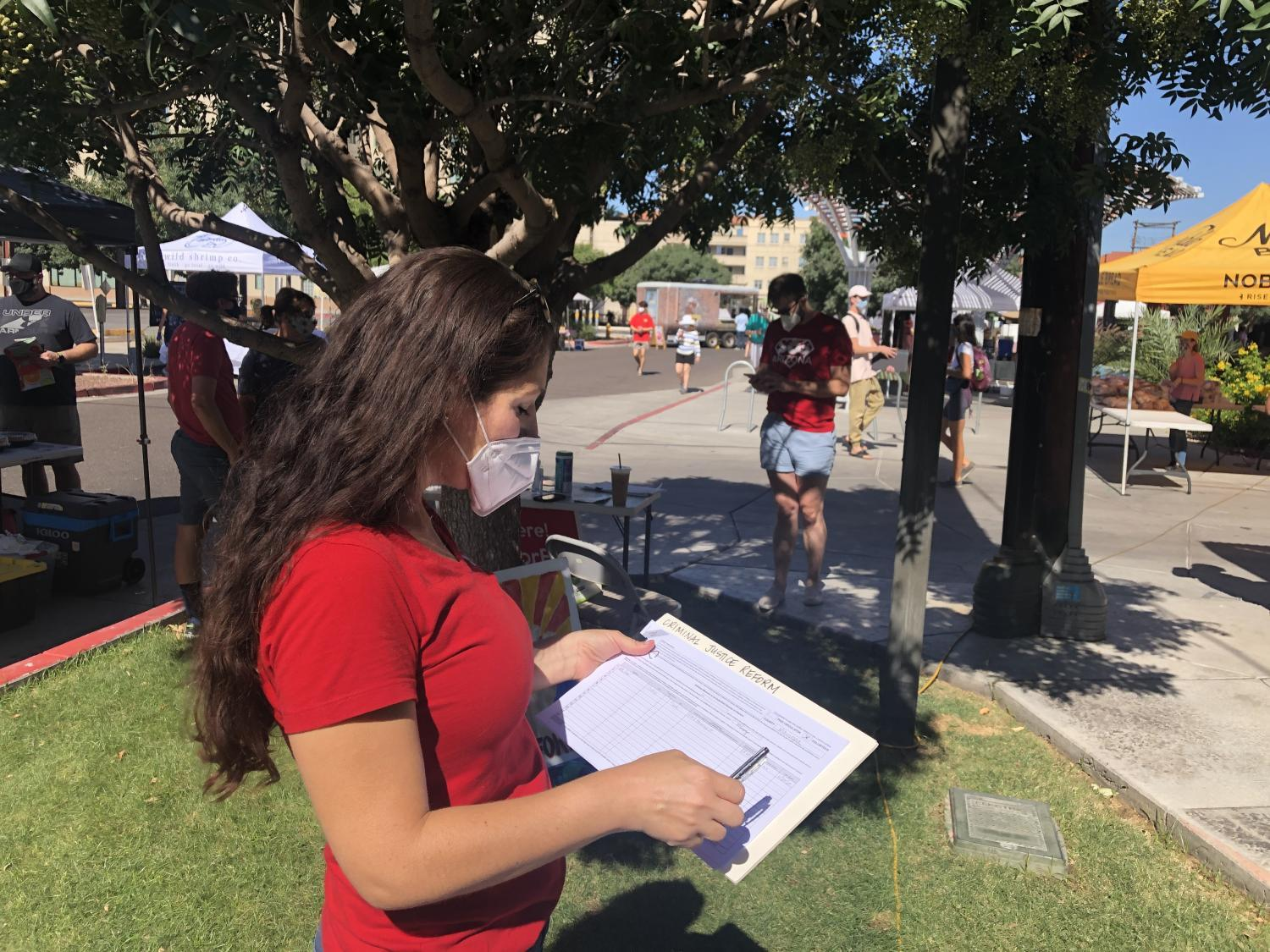 Dawn Penich-Thacker collects signatures for a ballot initiative ahead of the 2020 election.