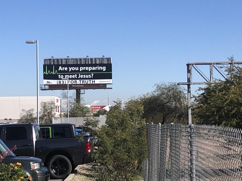 A billboard seen heading west on Interstate 10 through Phoenix.