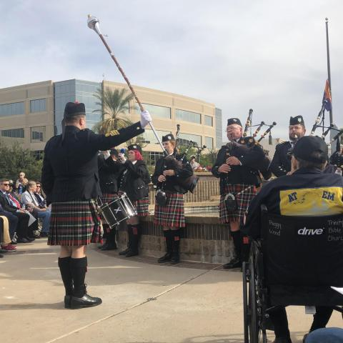 The Mesa Caledonian Pipe Band commemorates the 78th anniversary of the Pearl Harbor attacks, Dec. 7, 2019.