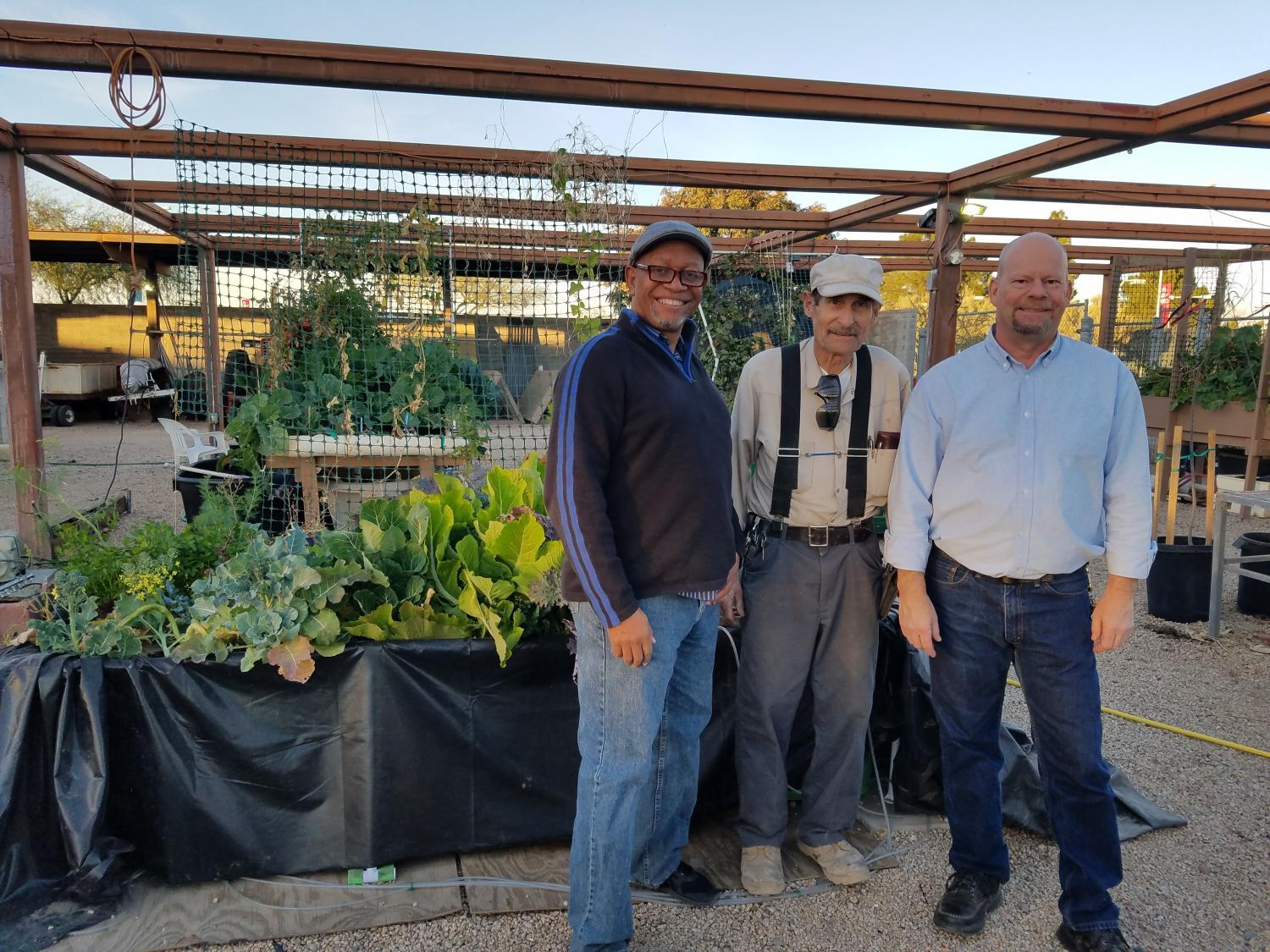 instructor student and director at aquaponics garden