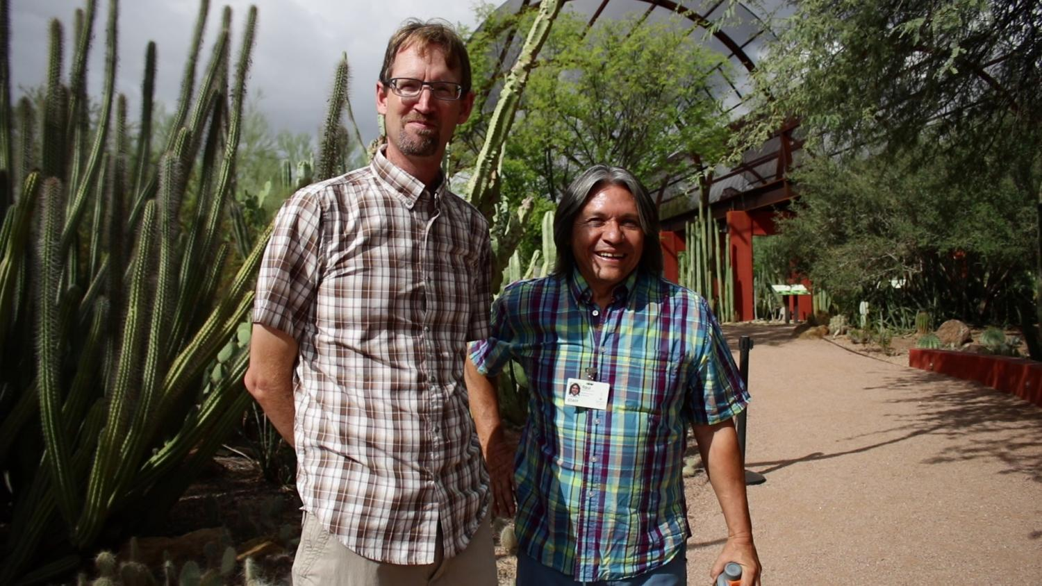 Plant physiologist Kevin Hultine and Desert Botanical Garden Curator of Living Collections Raul Puente-Martinez