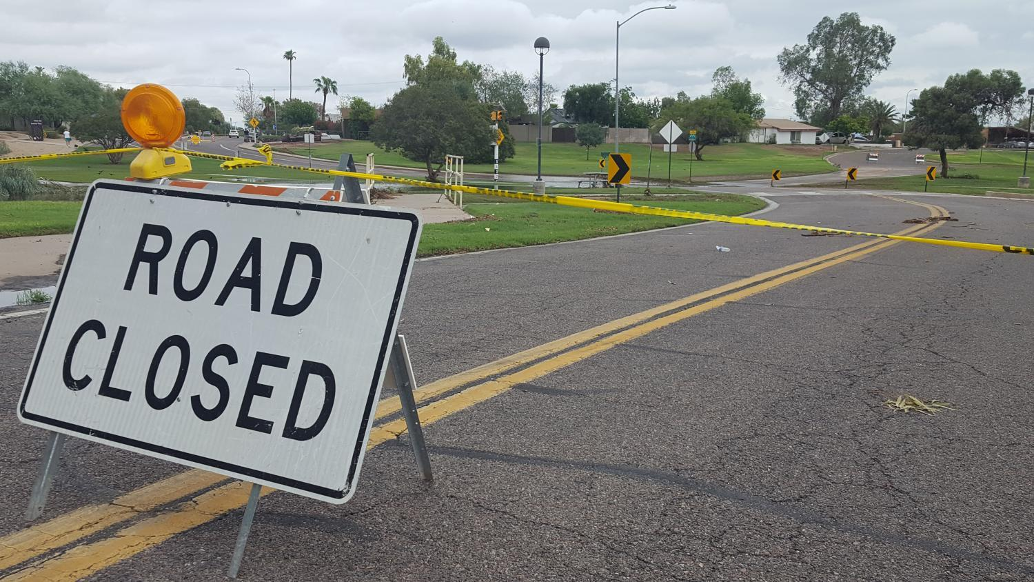 The road closed Roosevelt Road east of Miller Road