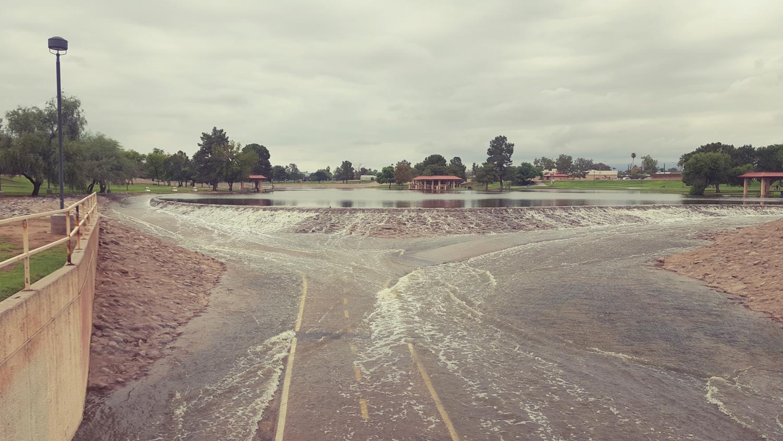 The south Scottsdale where storm runoff through greenbelt passes under Mckellips Road