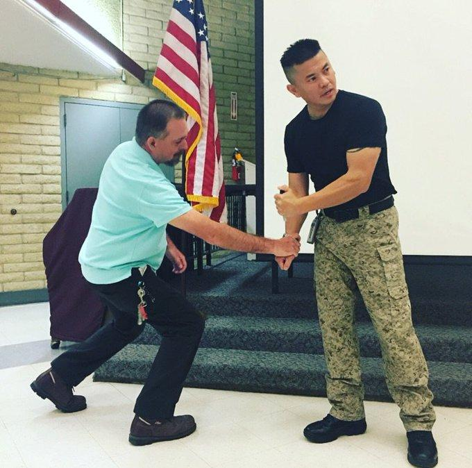 two guys demonstrating self defense