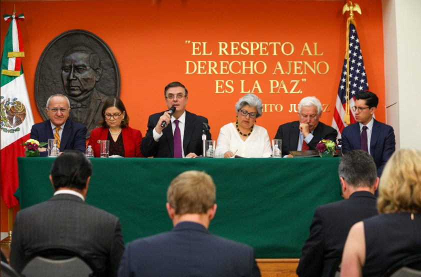 Top Mexican officials spoke at the Mexican embassy in Washington on Monday.